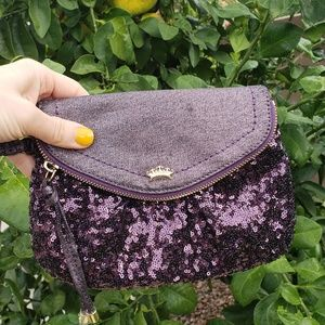Juicy Couture EUC purple sequin clutch